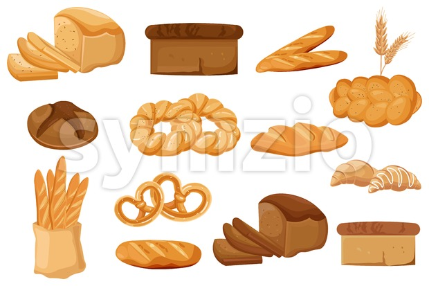 Bakery set Vector. Bread, pretzel, croissant Front view detailed illustration Stock Vector