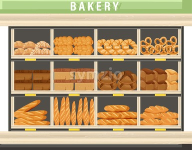 Bakery shopping stands Vector. Bread, pretzel, croissant. Front view detailed illustration Stock Vector