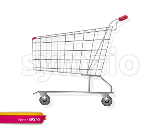 Empty shopping cart template Vector flat style. Product icon sale concept