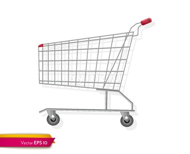 Empty shopping cart template Vector flat style. Product icon sale concept Stock Vector