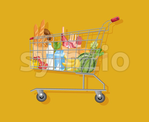 Shopping cart template Vector flat style. Product icon sale concept Stock Vector
