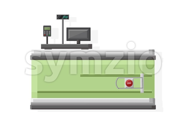 Cashier in the supermarket Vector flat style isolated on white Stock Vector