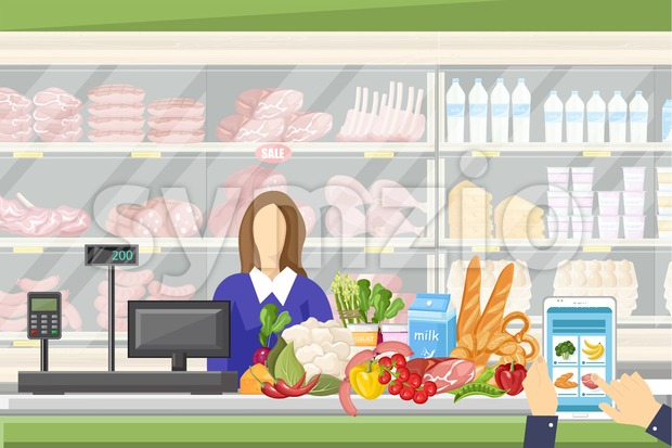 Cashier in the supermarket Vector flat style. Sale manager and food stands on background Stock Vector