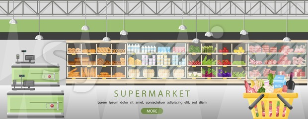 Supermarket stands with food products Vector flat style. Cashier front desk in the market. Shopping grocery and meat front view Stock Vector