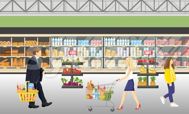 People in the supermarket shop Vector flat style. Shopping food products. Sales template