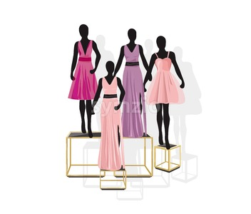 Mannequin Fashion dresses Vector illustration. Shopping concept front view Stock Vector