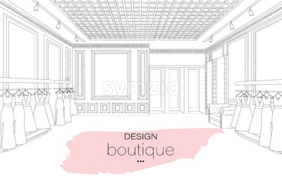 Interior design boutique line art background Vector illustration. Detailed elegant decoration Stock Vector