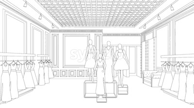 Interior design fashion boutique line art background Vector illustration. Detailed elegant decoration Stock Vector