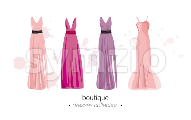 Long dresses Vector watercolor. Evening gowns beautiful elegant Stock Vector