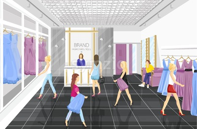 People in a Fashion boutique with dresses Vector illustration. Shop store front view Stock Vector