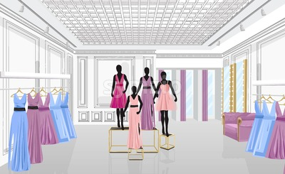Fashion boutique with dresses Vector illustration. Shop store front view Stock Vector
