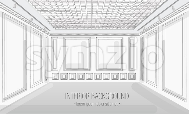 White classic interior design background Vector illustration. Detailed elegant decoration