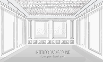 White classic interior design background Vector illustration. Detailed elegant decoration Stock Vector