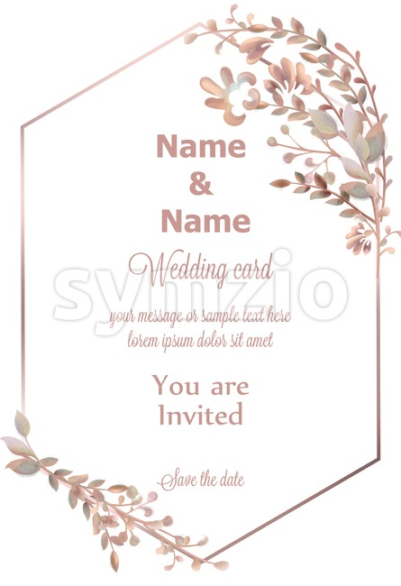 Wedding wreath watercolor Vector. Save the date pink leaves branch round card. Delicate poster. Summer decoration Stock Vector