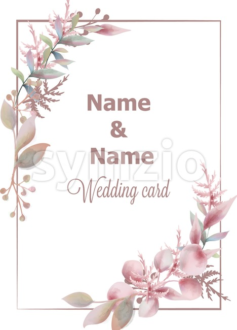 Wedding card save the date pink leaves branch watercolor Vector. Delicate poster. Summer decoration