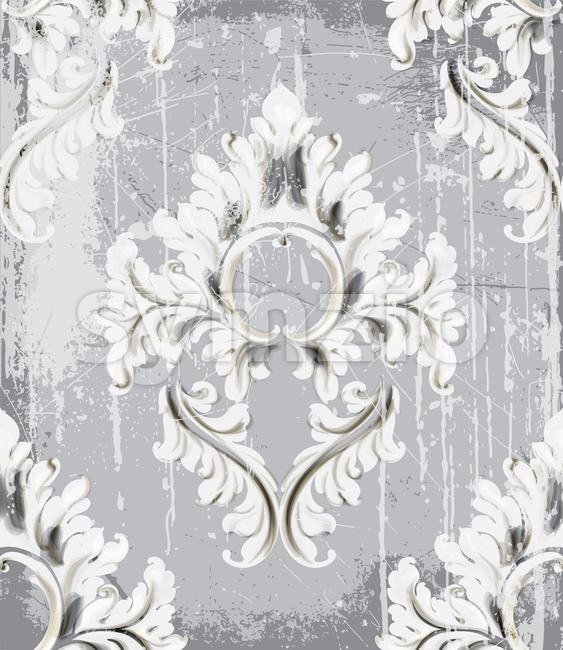 Vintage silver ornament pattern Vector. Baroque rococo texture luxury design. Royal textile decor. Old painted background Stock Vector
