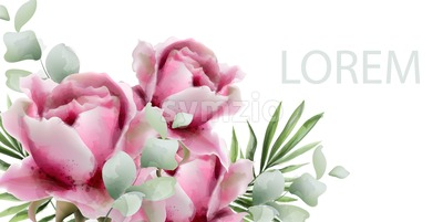 Peonies vector watercolor. Summer exotic floral background Stock Vector