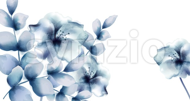 Blue flowers Vector watercolor. Floral wreath retro vintage card Stock Vector