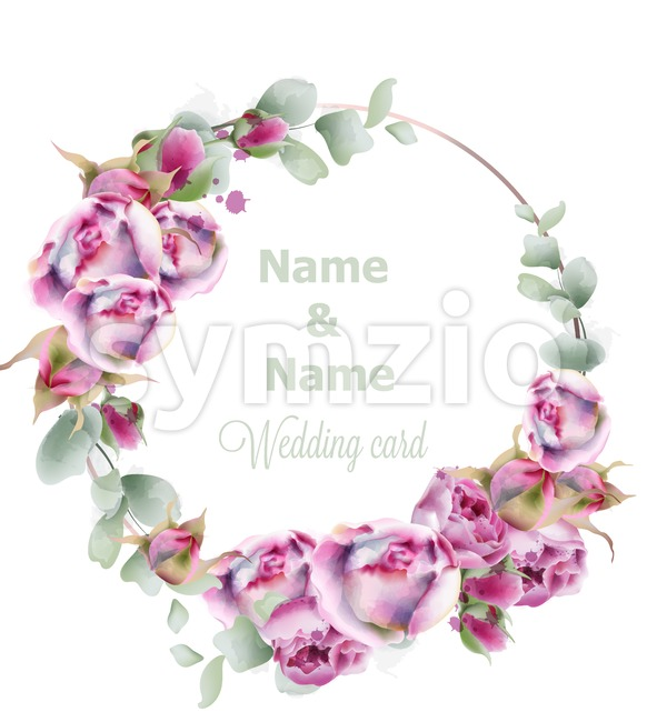 Blooming roses wedding wreath vector watercolor. Birthday, women day, special occasion card. Pink small rose flowers decoration