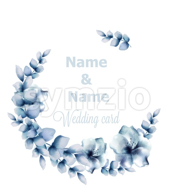 Blue flowers frame Vector watercolor. Floral wreath retro vintage card Stock Vector