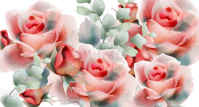 Pink roses vector watercolor. Summer exotic floral background Stock Vector