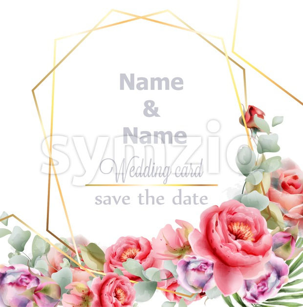 Wedding frame peony watercolor Vector. Golden abstract frame decor. Floral summer composition