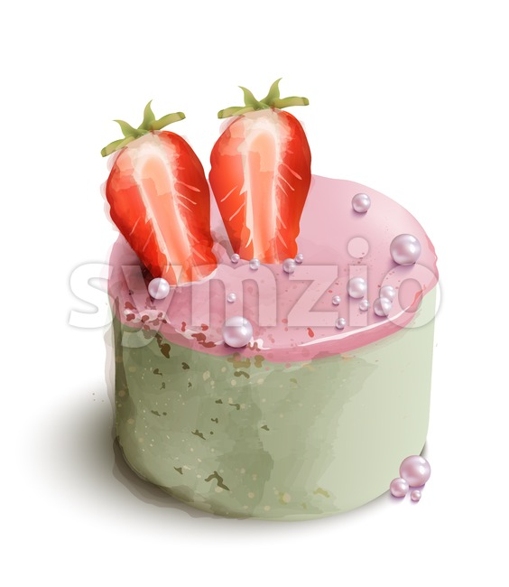 Berry cake Vector watercolor. Sweet desserts with strawberry and flowers decor