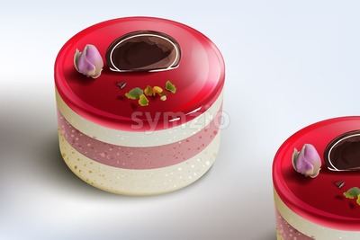 Berry cake mousse Vector realistic. Sweet desserts collection with strawberry and flower Stock Vector