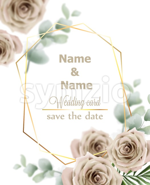 Wedding card roses Vector. Vintage decor design frame. Delicate light color Stock Vector
