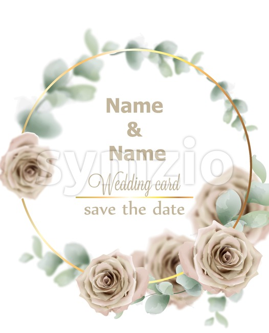 Wedding wreath watercolor roses Vector. Vintage decor design frames. Round shape collection. soft light color