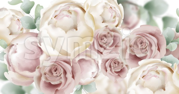 Roses watercolor Vector banner. Delicate flowers pattern texture. Floral wedding decor background Stock Vector