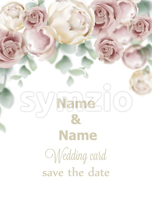 Wedding card roses Vector. Vintage decor design frame. Delicate light color