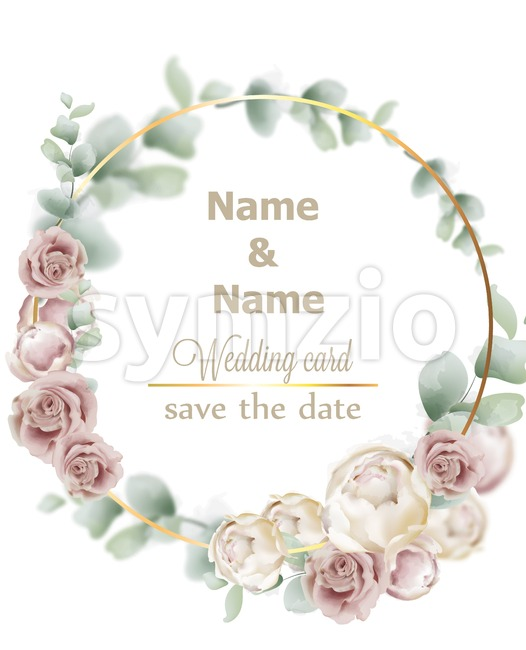 Wedding wreath watercolor roses Vector. Vintage decor design frames. Round shape collection. soft light color Stock Vector