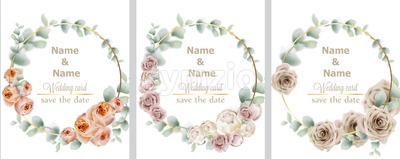 Wedding wreath set watercolor roses Vector. Vintage decor design frames. Round shape collection. soft light color Stock Vector