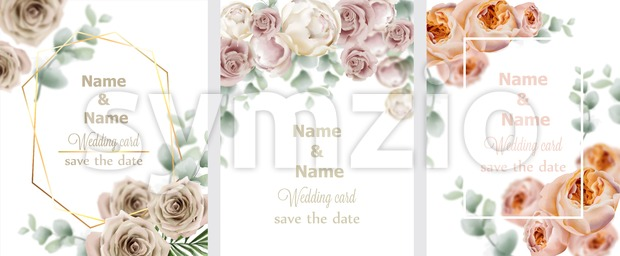 Wedding cards set with watercolor roses Vector. Vintage decor design frames, soft light color Stock Vector