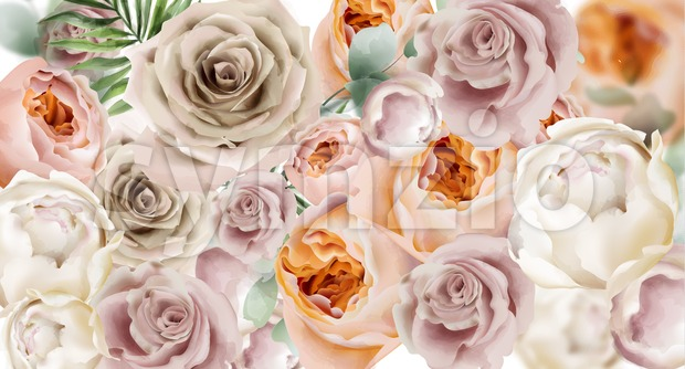 Roses watercolor Vector background. Delicate flowers pattern texture. Floral wedding decor background