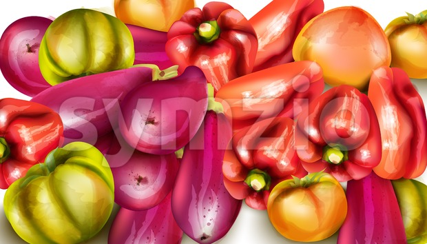 Vegetables banner illustration. eggplant, pepper, yellow tomatoes Vector watercolor Stock Vector