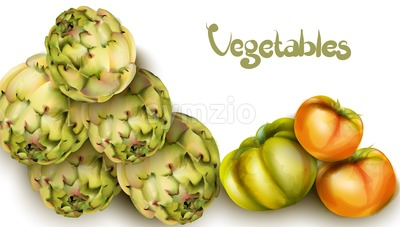 Artichokes and green tomatoes Vector watercolor. Grocery harvest fresh organic. poster sticker advertise Stock Vector