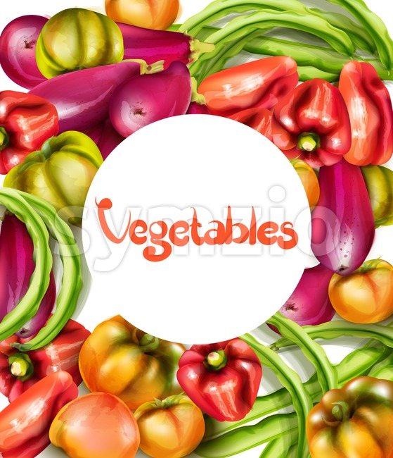 Vegetables eggplant, pepper, yellow tomatoes Vector watercolor