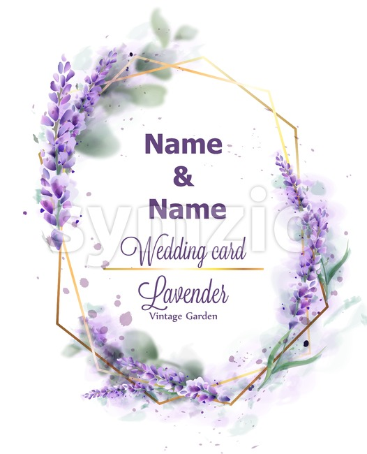 Wedding card Lavender wreath Vector watercolor. Delicate floral bouquet frame. Spring summer banner template