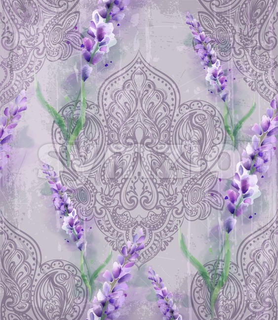 Damask ornament and lavender Vector pattern. Delicate floral decor watercolor. Spring summer texture banner template Stock Vector
