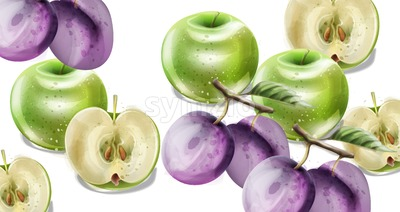 Summer fruits vector watercolor pattern background. Apples, plums and grapes illustration Stock Vector