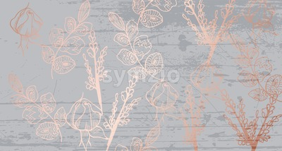 Vintage boho pattern flowers Vector line art. Golden glossy structure. Hand made design Stock Vector