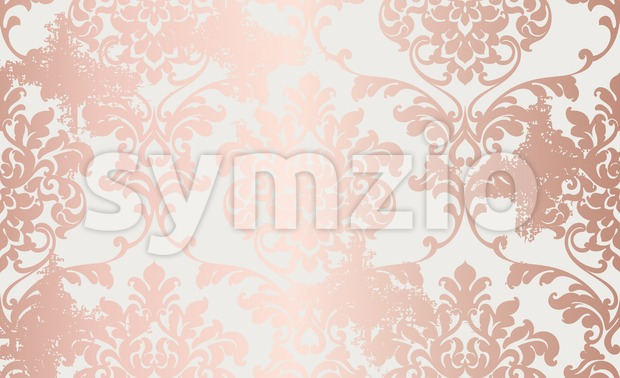 Damask pink gold ornament pattern Vector. Baroque luxury texture. Glossy structure. Victorian elegant decor Stock Vector