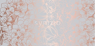 Vintage boho flowers background Vector line art. Golden glossy structure. Hand made design Stock Vector