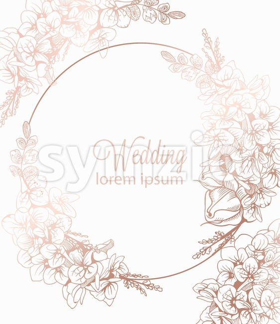 Vintage boho flowers wreath decor Vector line art. Golden glossy structure. Hand made design