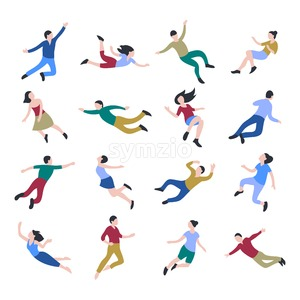 Flat business people jumping and flying icons infographics, digital vector advert Stock Vector