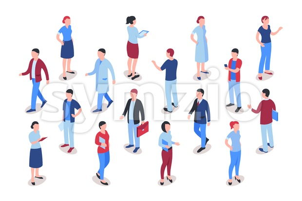 Flat business people icons infographics, digital vector advert Stock Vector
