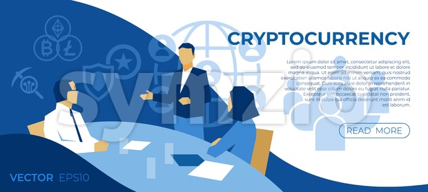 Cryptocurrency bitcoin technology icons infographics with business people, digital vector advert