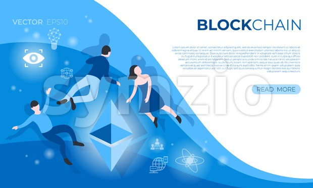 Cryptocurrency blockchain bitcoin technology icons infographics with flying people, digital vector advert Stock Vector